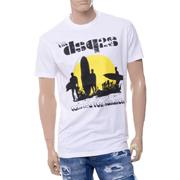 ディースクエアード アメリカンロードトリップクラックプリント半袖Tシャツ コットン ホワイト