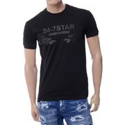 ディースクエアード 24-7 STAR プリント半袖Tシャツ コットン ブラック