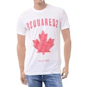 ディースクエアード ブランドロゴ・カエデプリントTシャツ コットン ホワイト