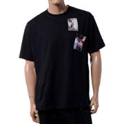 ラフシモンズ フレッドペリー FREDPERRY プリントパッチオーバーサイズドTシャツ コットン ブラック