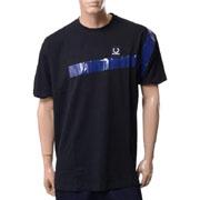 ラフシモンズ フレッドペリーFRED PERRY RSテープディテールTシャツ コットン ブラック