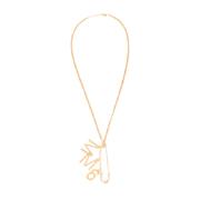 エムエムシックス メゾンマルジェラ MM6ロゴ付き安全ピンネックレス 真鍮 ゴールド