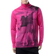 ラフシモンズ フレッドぺリー FRED PERRY プリントロールネックロングTシャツ コットン ポップピンク