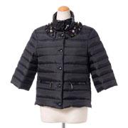 エンポリオアルマーニ ボタン刺繍ショートダウンジャケット ダウンフェザー ブラック