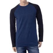 ブラックデニム ロングラグランスリーブTシャツ ネイビー