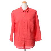 ジガ 七分袖開襟シャツ リネン レッド