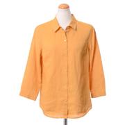 ジガ 七分袖開襟シャツ リネン マスタード